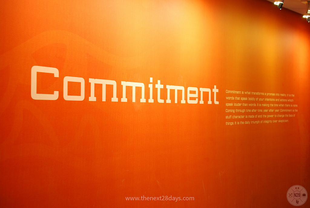 Word Commitment on orange wall