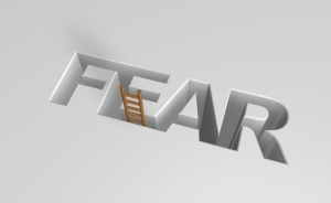 The word fear ingraved in a white background