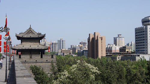 City view on the Chinese city of Xian