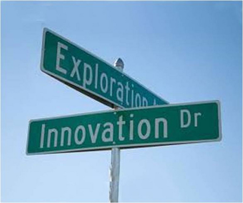 Road sign with the word Innovation on it