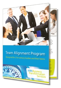 Training brochure about team development with people shaking hands.