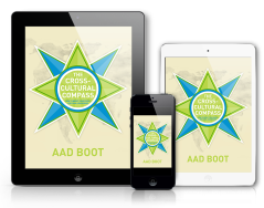 Cover of e-book The Cross-Cultural Compass presented on iPad and iPhone with picture of a compass.