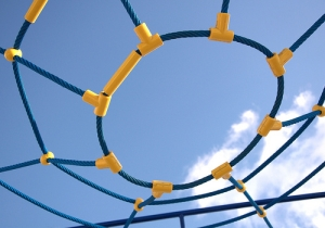 Net with yellow connections under a blue sky