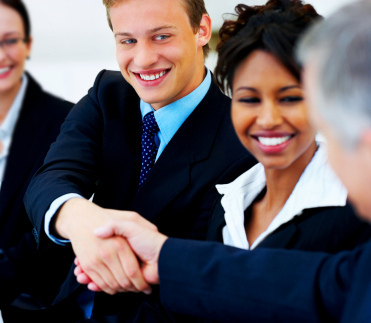 Mergers and acquisitions, people shake hands