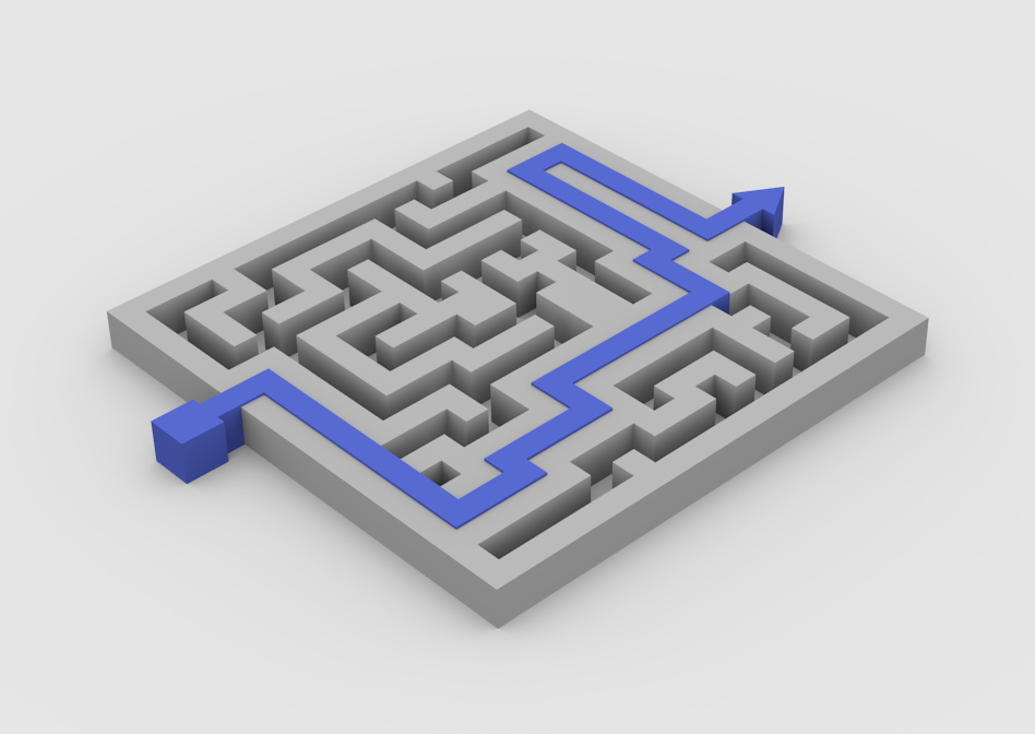 Grey Maze with blue arrow, strategy road map