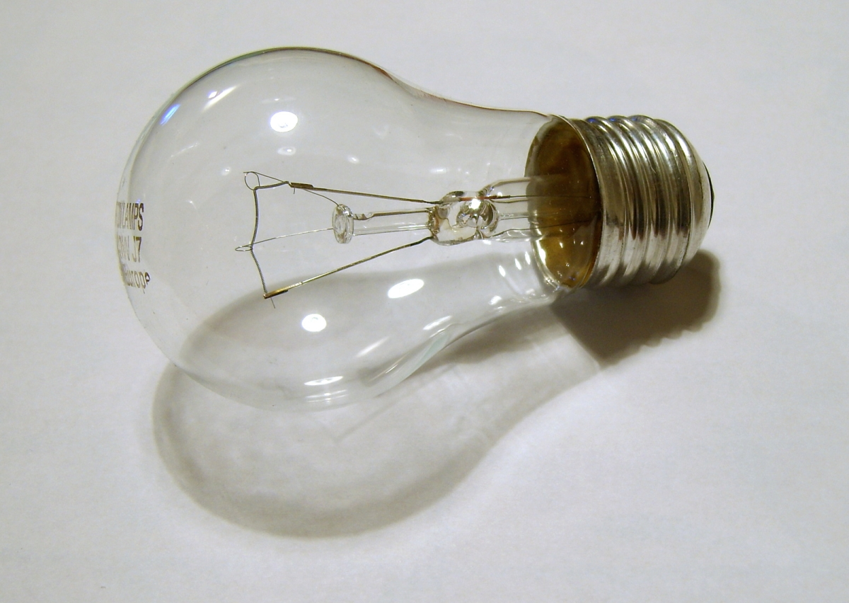 A Philips light bulb on a grey background