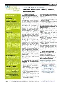 Cross-Cultural Effectiveness Workshop, brochure