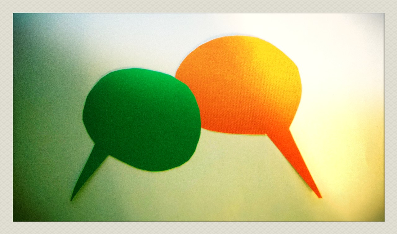 Intercultural Communication, text balloons in green and orange