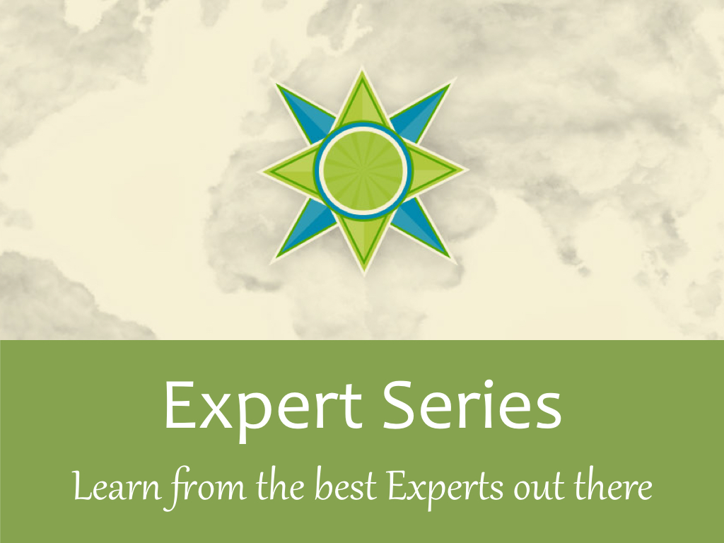Leadership Expert Series logo on green background with world map and compass